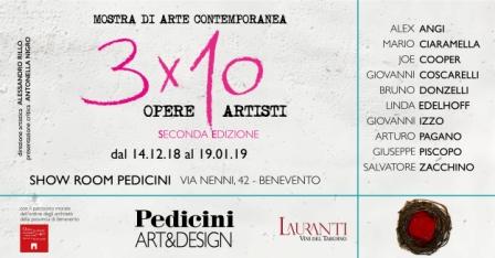 Al via domani '3×10' evento di arte contemporanea e design presso Pedicini Arredamenti di Benevento
