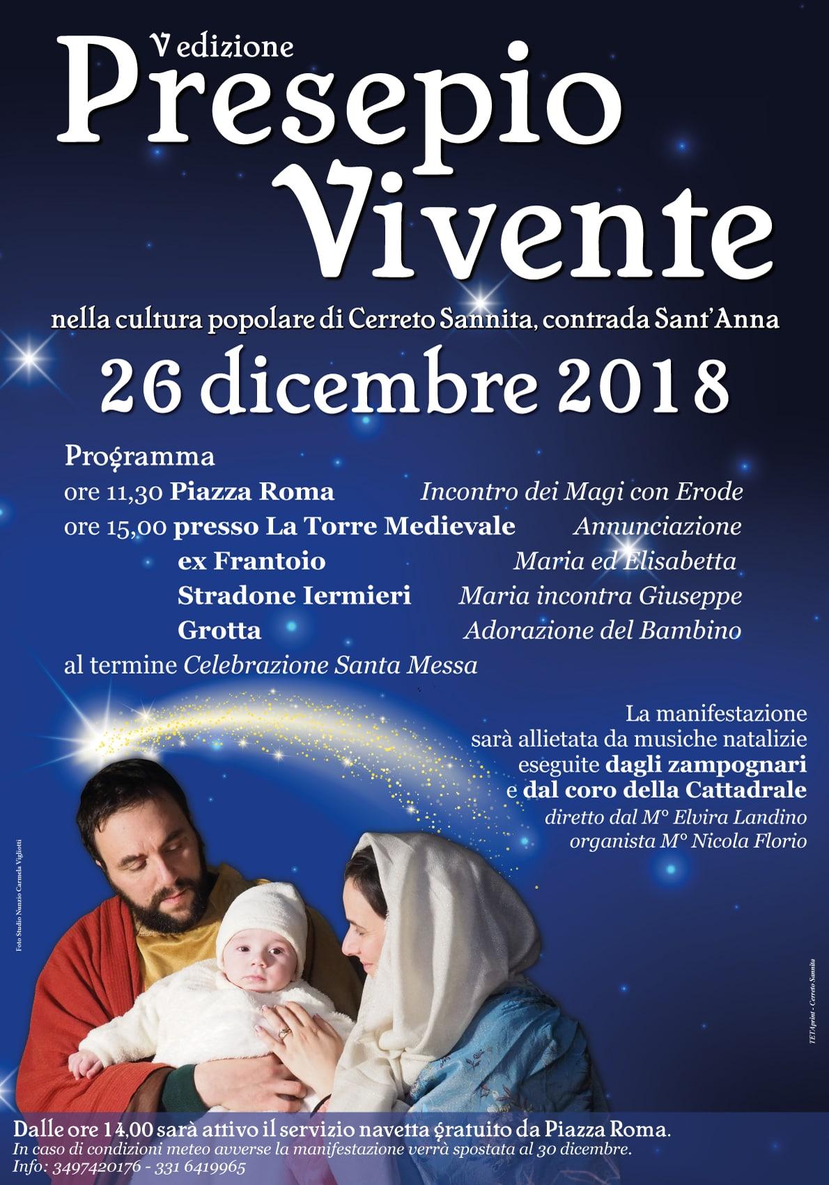 Il 26 dicembre, a Cerreto Sannita, quinta edizione del Presepe Vivente