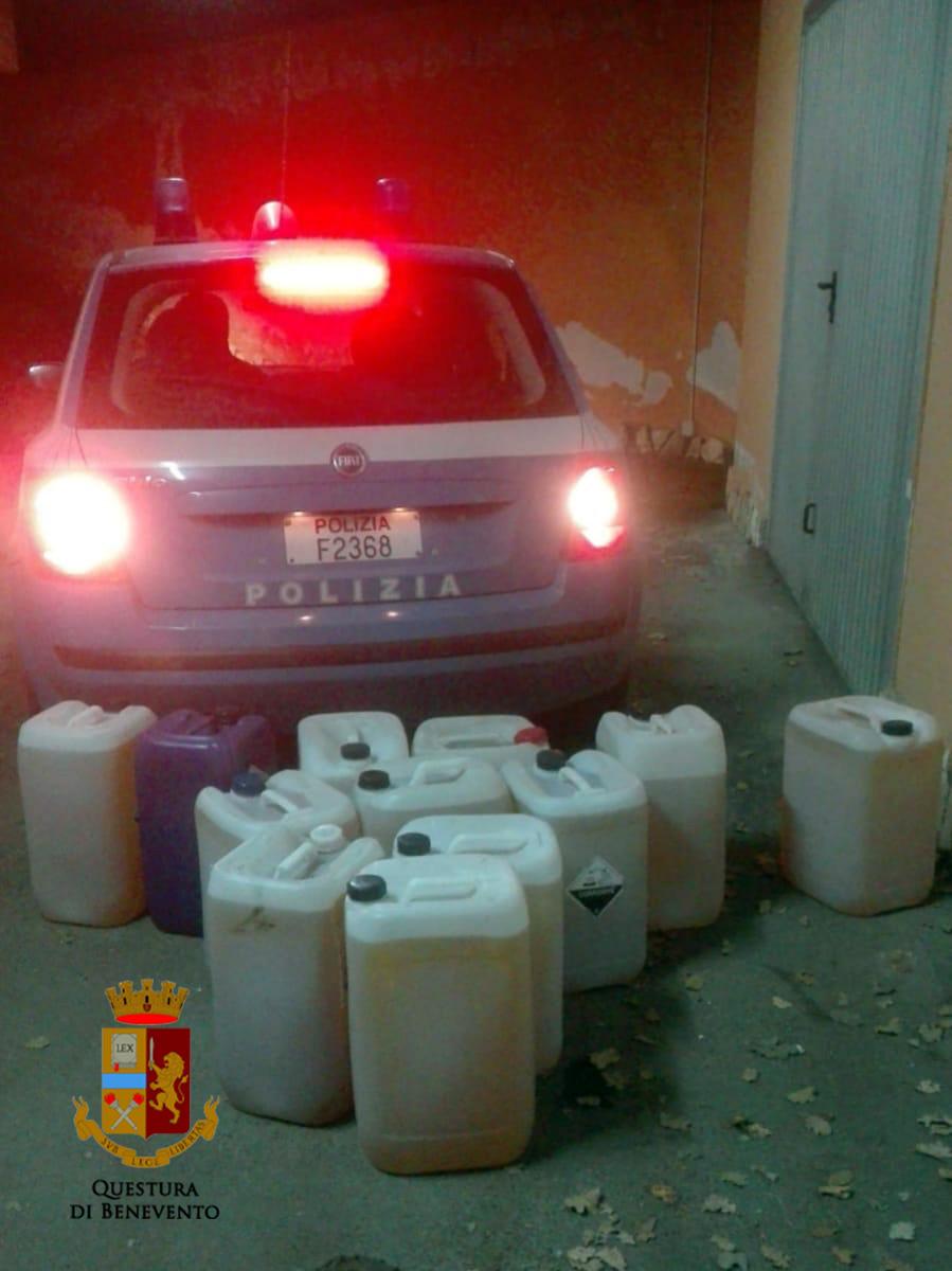 Telese, furto di gasolio da veicoli trasportati. Ritrovati dalla Polizia centinaia di litri di carburante