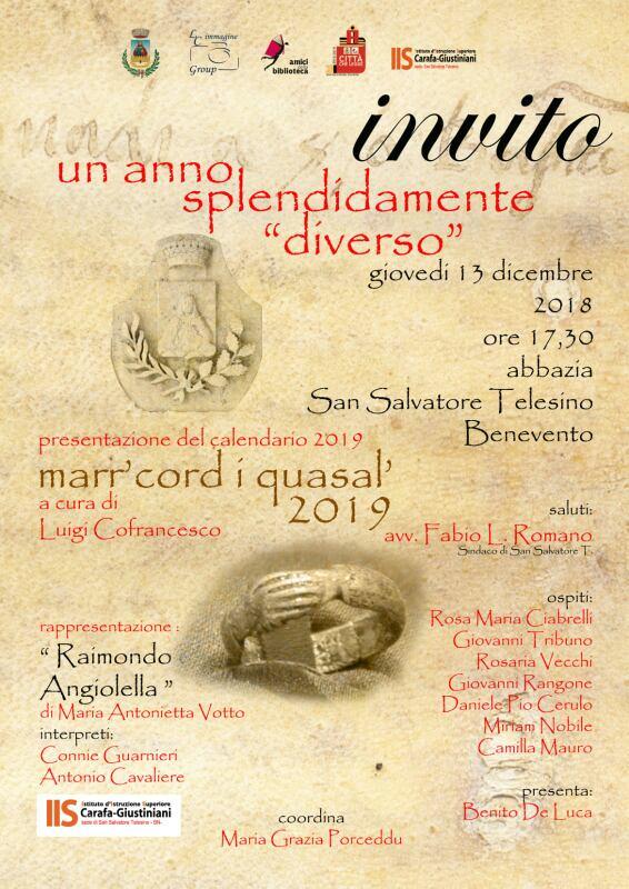 """San Salvatore Telesino, presentazione del calendario """"marr'cord i quasal"""" a cura di Luigi Cofrancesco"""