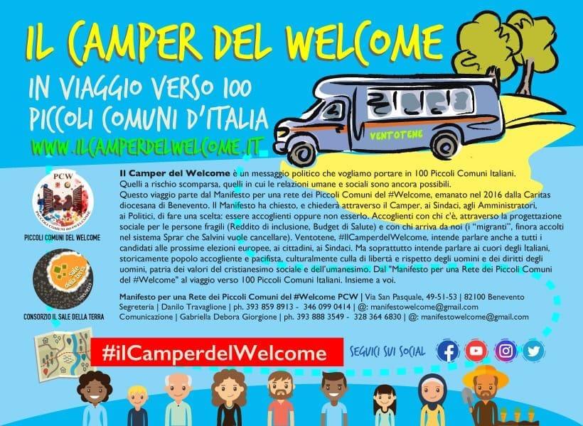 Ventotene, il CamperdelWelcome, è pronto a riprendere il suo viaggio di speranza verso i comuni d'Italia