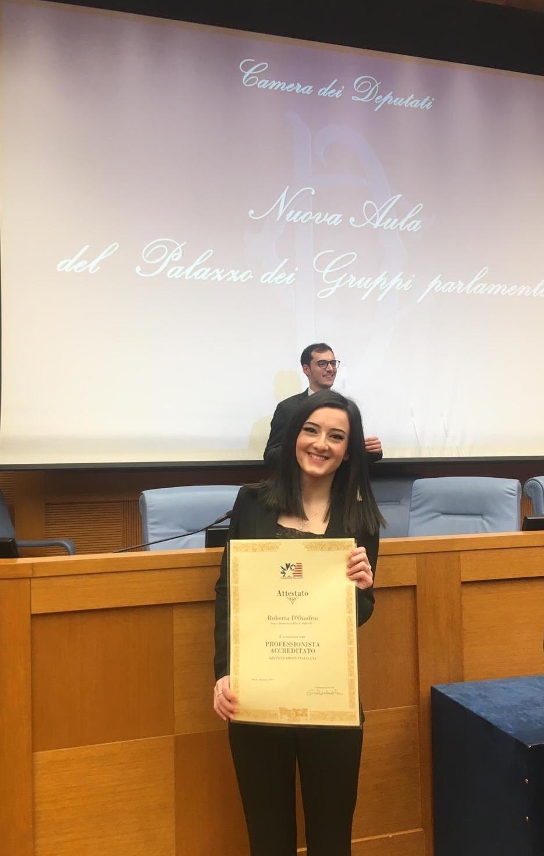 Laureata Unisannio premiata alla Camera dei Deputati