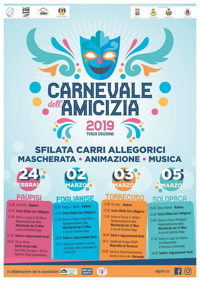 Tutto pronto per il 'Carnevale dell'Amicizia' che vede coinvolti i comuni di Paupisi, Foglianise, Torrecuso e Solopaca
