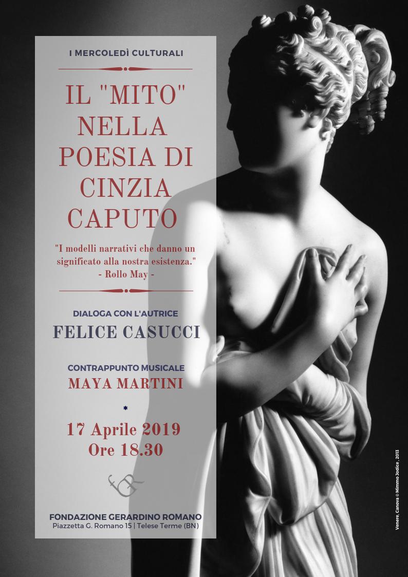 'Il mito nella Poesia di Cinzia Caputo', domani alla Fondazione Romano di Telese