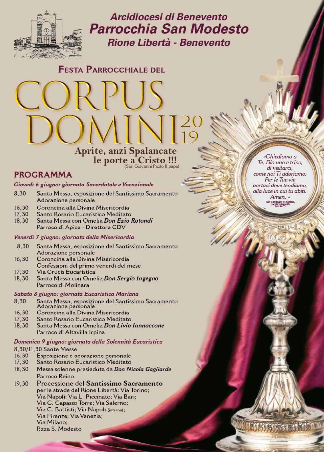 Celebrazione del rito del Corpus Domini alla parrocchia San Modesto di Benevento