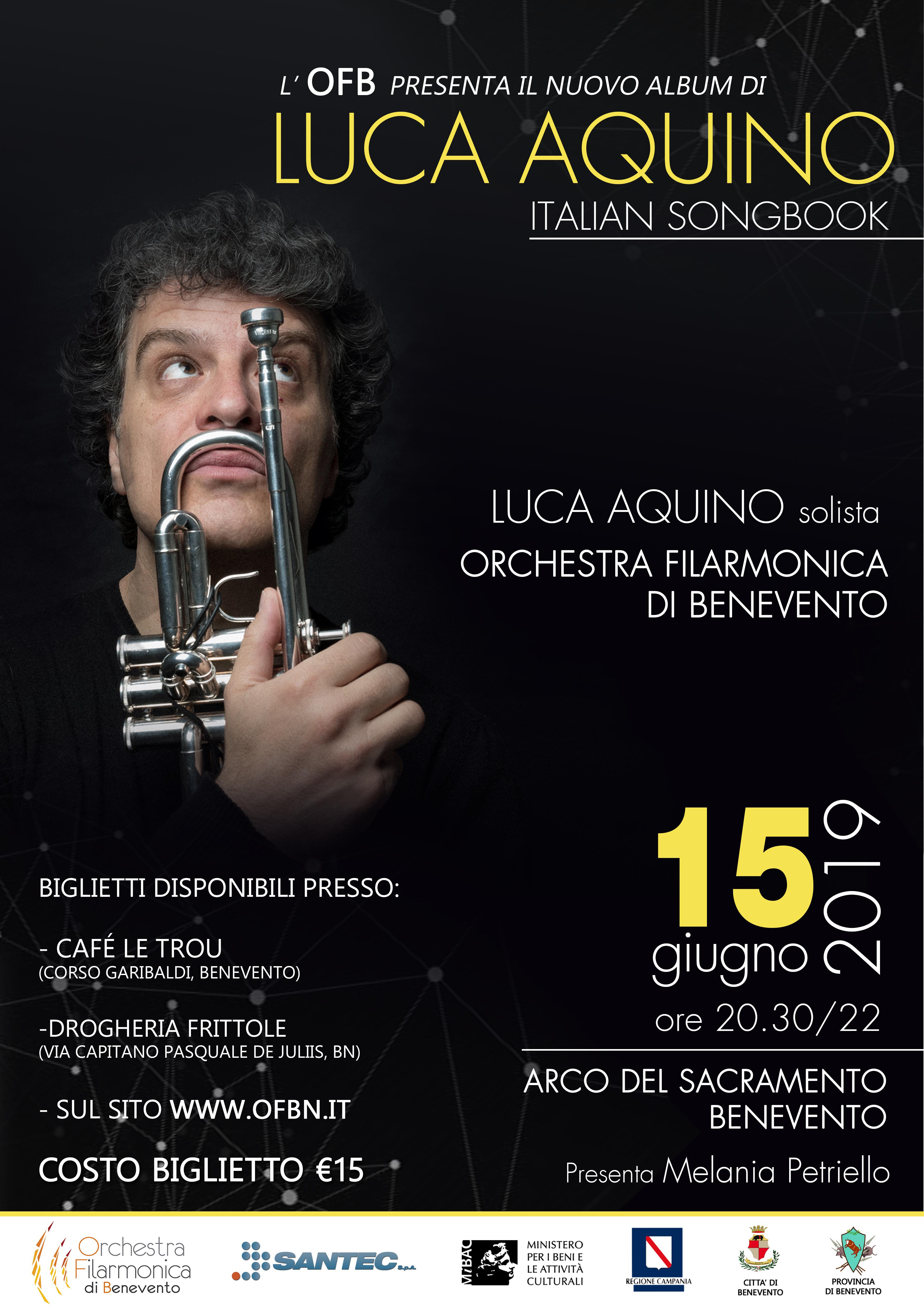Il ritorno del trombettista Luca Aquino in concerto, domani, con l'Orchestra Filarmonica di Benevento