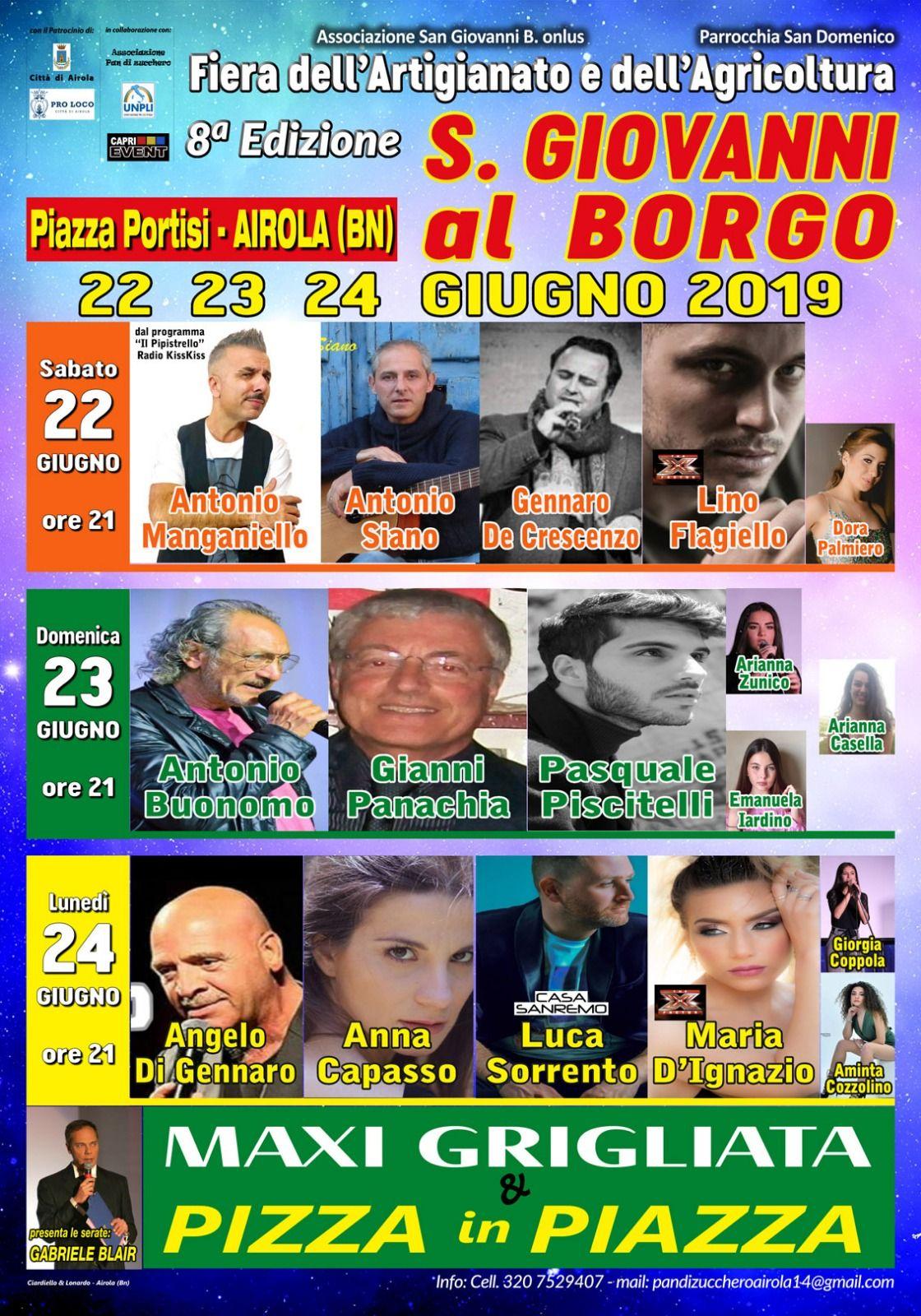 Airola, al via l'ottava edizione della fiera 'San Giovanni al Borgo'