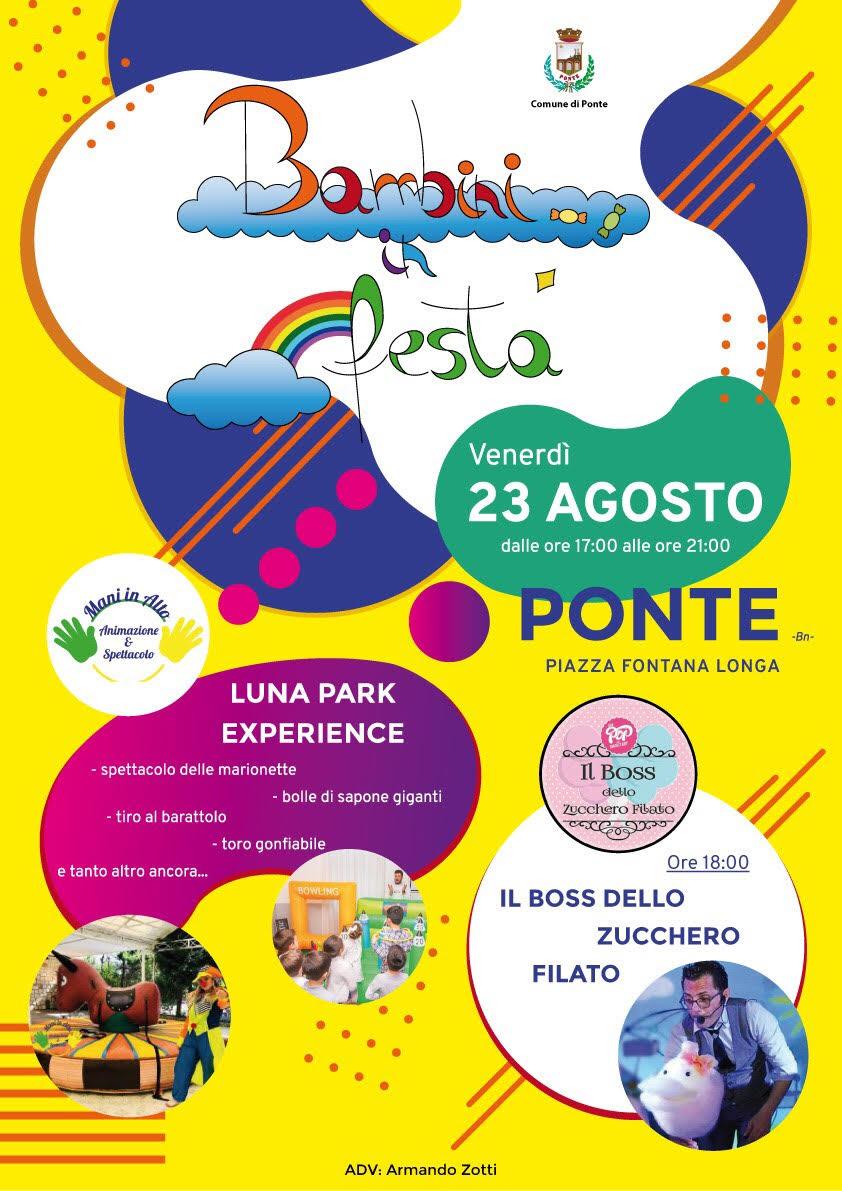 Ponte, venerdì 23 agosto al via lo show 'Bambini in Festa'