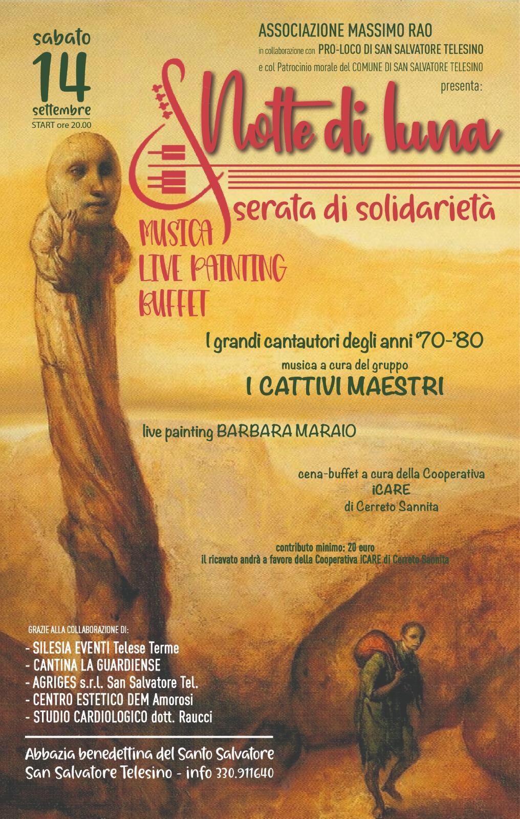A San Salvatore Telesino, domani, 'Notte di luna' e di solidarietà