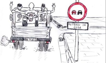 La mini-fuga in vetta alla classifica della squadra della Strega celebrata con una emblematica vignetta