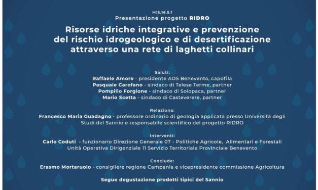 Presentato a Benevento il progetto 'Risorse idriche integrative e prevenzione del rischio idrogeologico'