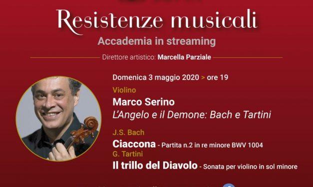 Il 3 maggio, il violinista Marco Serino in concerto per la rassegna Resistenze Musicali